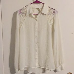 dress shirt with ivory and silver lace detail